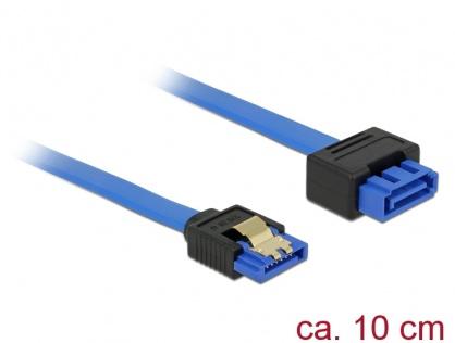 Cablu prelungitor SATA III 6 Gb/s T-M bleu latchtype 10cm, Delock 84970