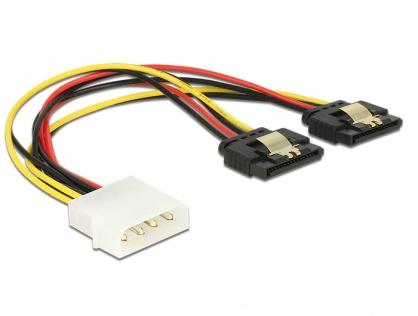 Cablu de alimentare Molex 4 pini la 2 x SATA 15 pini cu clips T-M 20cm, Delock 85237