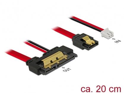 Cablu de date + alimentare SATA 22 pini 5V 6 Gb/s cu clips la Alimentare 2 pini + SATA 7 pini 20cm, Delock 85240