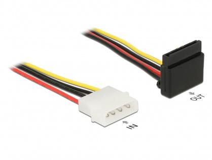 Cablu alimentare SATA unghi 90 grade la Molex 4 pini 30cm, Delock 85513