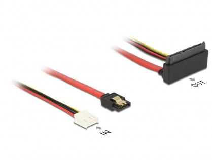 Cablu SATA III 6 Gb/s + alimentare Floppy 4 pini la SATA 22 pini unghi sus 30cm, Delock 85517
