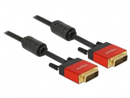 Cablu DVI-D Dual Link 24+1pini ecranat 5m, Delock 85676