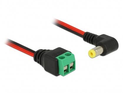 Cablu de alimentare DC 5.5 x 2.1 mm unghi 90 grade la bloc terminal 2 pini 15cm, Delock 85715