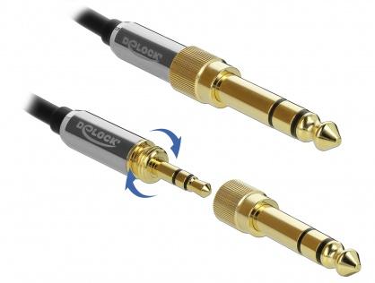 Cablu spiralat jack stereo 3.5mm 3 pini T-T + adaptor 6.35mm 1m, Delock 85836