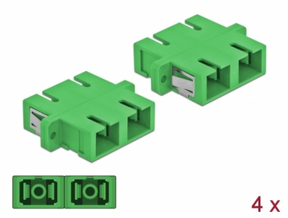 Set 4 buc cupla fibra optica SC Duplex la SC Duplex Single-mode M-M Verde, Delock 85992