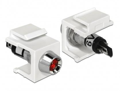 Keystone alb cu LED rosu 6V, Delock 86447