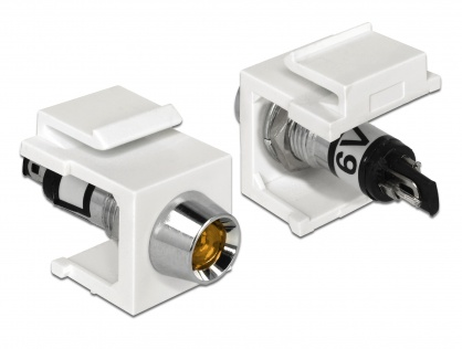 Keystone alb cu LED portocaliu 6V, Delock 86449