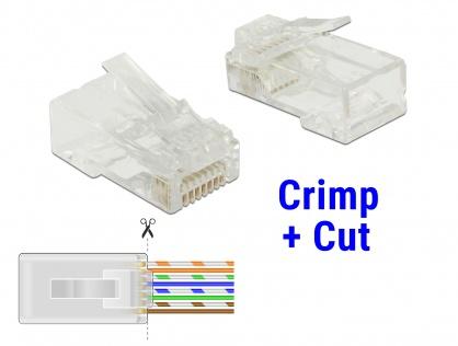 Set 20 buc mufe RJ45 cat 6 pentru fir solid UTP Crimp+Cut, Delock 86453