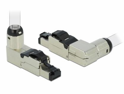 Conector RJ45 ecranat cat 8.1 unghi, Delock 86489