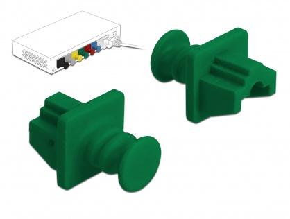Set 10 buc protectie impotriva prafului pentru RJ45 Verde, Delock 86512