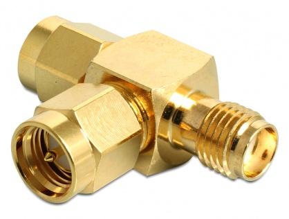 """Adaptor """"forma T"""" SMA plug la SMA plug la SMA jack, Delock 88710"""