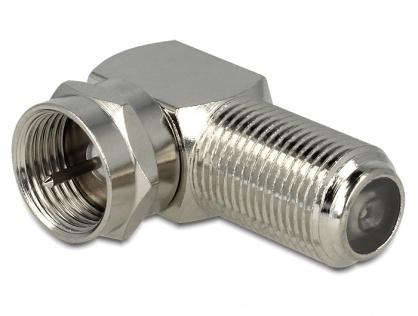 Adaptor F Jack la F Plug unghi 90 grade, Delock 88880