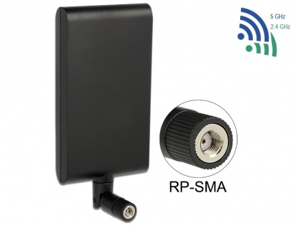 Antena WLAN 802.11 ac/a/h/b/g/n RP-SMA 7,5 ~ 10 dBi Directional With Flexible Joint, Delock 88904