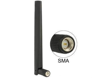 Antena ZigBee Multi Bluetooth, GSM, LTE, UMTS, WLAN IEEE 802.11 b/g/n SMA 1 ~ 4.3 dBi Omnidirectional Joint Black, Delock 88968