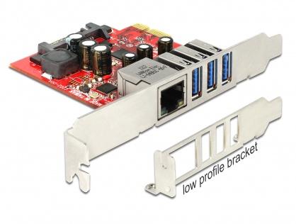 PCI Express cu 3 x USB 3.0 + 1 x Gigabit LAN externe, Delock 89382