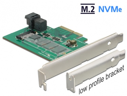 PCI Express Card la 1 x internal NVMe M.2 PCIe / 1 x internal SFF-8643 NVMe  Low Profile Form Factor, Delock 89517