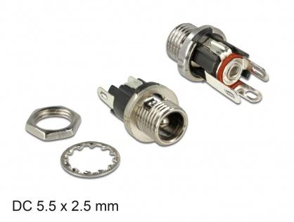 Conector mama DC 5.5 x 2.5 x 9.5 mm bulkhead, Delock 89911