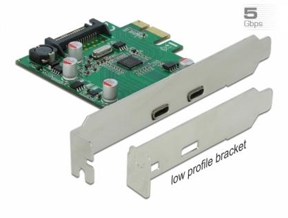 PCI Express cu 2 x SuperSpeed USB (USB 3.2 Gen 1) USB-C, Delock 90493