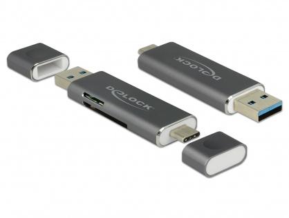 Cititor de carduri USB 3.1-C/A la SD / MMC + Micro SD, Delock 91499