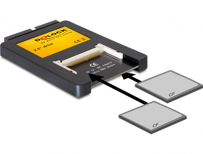 Cititor de carduri interfata 2,5 inch IDE la 2 x Compact Flash, Delock 91662
