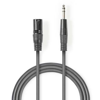 Cablu audio jack stereo 6.35mm la XLR 3 pini T-T 3m Gri, Nedis COTH15100GY30