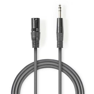 Cablu audio jack stereo 6.35mm la XLR 3 pini T-T 5m Gri, Nedis COTH15100GY50