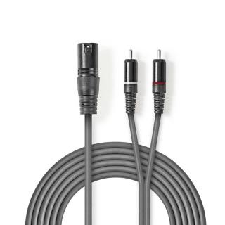 Cablu audio XLR 3 pini la 2 x RCA T-T 1.5m Gri, Nedis COTH15200GY15