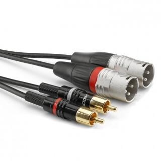 Cablu audio 2 x XLR 3 pini la 2 x RCA T-T 1.5m, HBP-M2C2-0150