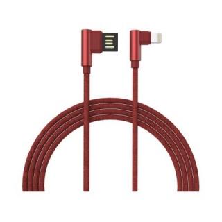 Cablu de date si incarcare USB la iPhone Lightning unghi 90 grade 1m Rosu brodat, GC-48