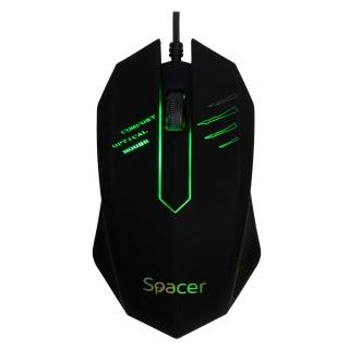 Mouse USB optic cu iluminare Negru, Spacer SPMO-M20