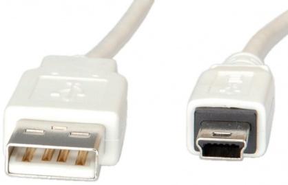 Cablu USB 2.0 la mini USB 0.8m T-T Alb, S3141