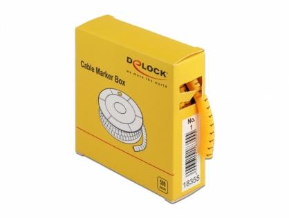 Set 500 bucati marcatoare cablu cifra 1 Galben, Delock 18355