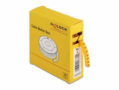 Set 10 bucati marcatoare cablu cifra 6 Galben, Delock 18360