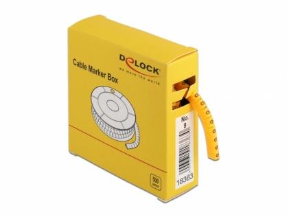Set 500 bucati marcatoare cablu cifra 9 Galben, Delock 18363