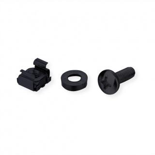 "Set 100 buc suruburi M5 montare rack/cabinet/dispozitive 19"" Negru, Roline 26.50.5006"
