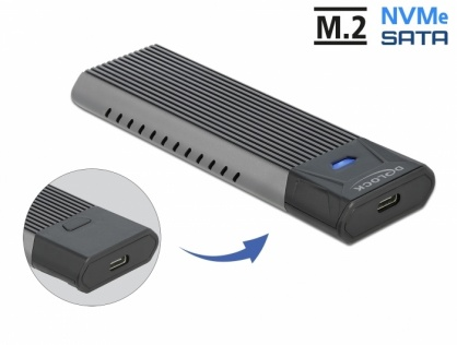 Rack extern combo USB type C pentru SSD M.2 PCIe/NVME sau SATA toolfree, Delock 42638