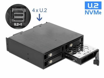 "Rack mobil 5.25"" pentru 4 x 2.5"" U.2 NVMe SSD, Delock 47235"