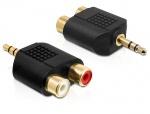 Adaptor audio Stereo jack 3.5 mm 3 pini T la 2 x RCA M, Delock 65365