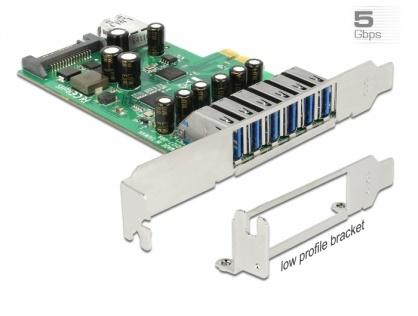 PCI Express cu 6 x USB 3.0-A externe + 1 x USB 3.0-A intern, Delock 89377