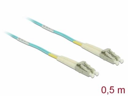 Cablu fibra optica LC- LC Multi-mode OM3 0.5m, Delock 86549