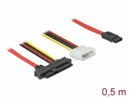 Cablu SAS SFF-8482 + Alimentare la SATA 7 pini 0.5m, Delock 82219