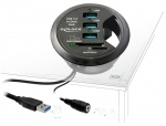 Hub 3 Porturi USB 3.0 + 2 Sloturi SD pentru birou, Delock 61991