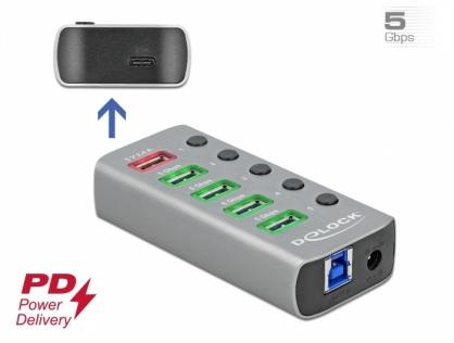 HUB USB 3.2 Gen 1 cu 4 porturi + 1 Fast Charging + 1 USB-C PD 3.0 cu iluminare + switch ON/Off, Delock 63263