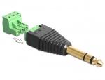 Adapter audio Stereo jack T 6.35 mm la Terminal Bloc 3 pini, Delock 65460