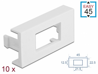 Set 10 placi pentru modul Easy 45 cu decupaj 12.5 x 21.5 mm / 45 x 22.5 mm Alb, Delock 81302