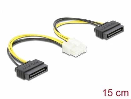 Cablu de alimentare 8 pini EPS la 2 x SATA 15cm, Delock 83020