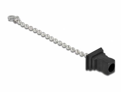 Protectie pentru conector fibra optica SC Negru prindere lant, Delock 86847