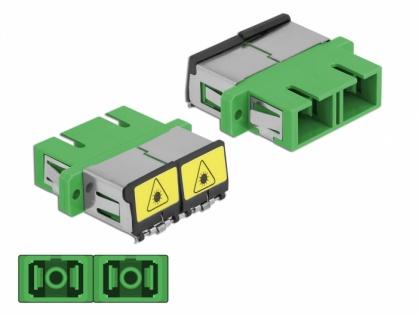 Cupla fibra optica cu protectie laser SC Duplex Single-mode M-M Verde, Delock 86892