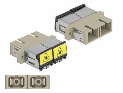 Cupla fibra optica cu protectie laser SC Duplex Multi-mode OM1/OM2 M-M Bej, Delock 86894