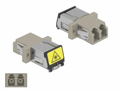 Cupla fibra optica cu protectie laser LC Duplex Multi-mode OM1/OM2 M-M Bej, Delock 86899